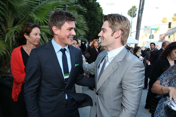 Actorss Chris Lowell and Mike Vogel chat at the world premiere of DreamWorks Pictures' and Participant Media's 'The Help' on Monday, August 9, 2011 at the Academy of Motion Picture Arts and Sciences in Beverly Hills, CA. 'The Help' opens in U.S. theaters