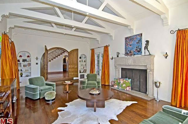 The sitting room in Rose McGowan's former home, located in the Loz Feliz neighborhood of Los Angeles, which was built in 1928 and has 4 bedrooms and 3 bathrooms. The Spanish-style home was sold for $1.7 million in May 2011.