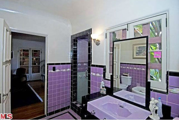 The master bathroom in Rose McGowan's former home, located in the Loz Feliz neighborhood of Los Angeles, which was built in 1928 and has 4 bedrooms and 3 bathrooms. The Spanish-style home was sold for $1.7 million in May 2011.