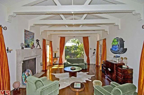 The sitting room in Rose McGowan&#39;s former home, located in the Loz Feliz neighborhood of Los Angeles, which was built in 1928 and has 4 bedrooms and 3 bathrooms. The Spanish-style home was sold for &#36;1.7 million in May 2011. <span class=meta>(MLS &#47; Realtor.com)</span>