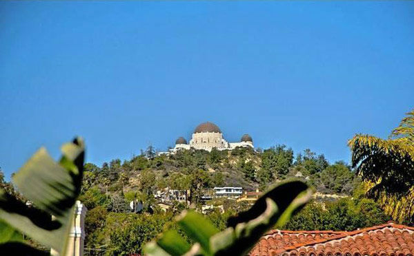 A view of the Griffith Park Observatory from Rose McGowan's former home, located in the Loz Feliz neighborhood of Los Angeles, which was built in 1928 and has 4 bedrooms and 3 bathrooms. The Spanish-style home was sold for $1.7 million in May 2011.