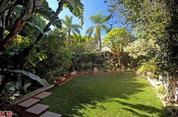 The back yard of Rose McGowan's former home,...