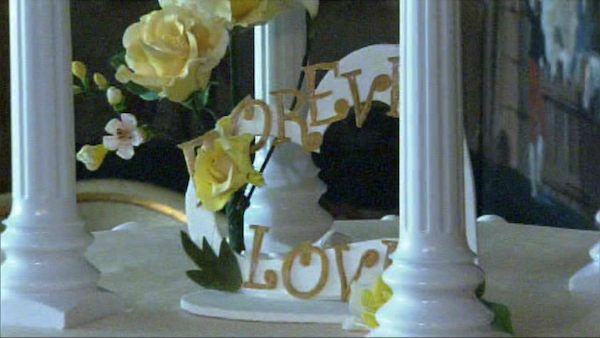 The centerpiece of the cake for Zsa Zsa Gabor and Frederic Prinz von Anhalt&#39;s 25th wedding anniversary celebration on August 14, 2011. It reads &#39;Forever Love.&#39; <span class=meta>(OTRC Photo)</span>