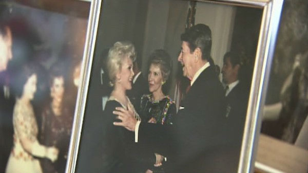 Zsa Zsa Gabor is seen with President Ronald Regan in an undated photograph displayed at her Ben Air home. Gabor and Frederic Prinz von Anhalt celebrated their 25th wedding anniversary on August 14, 2011. <span class=meta>(OTRC Photo)</span>