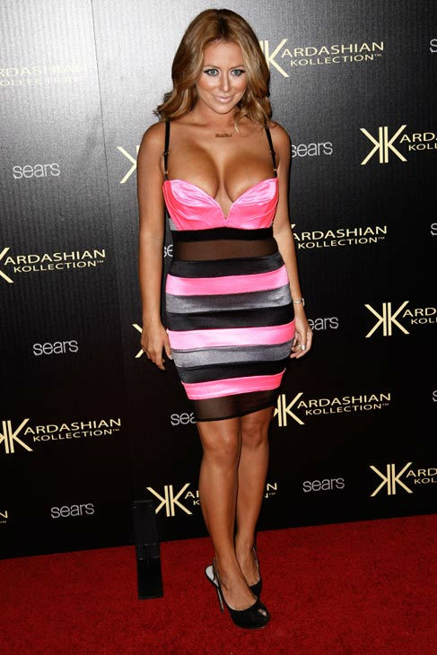 Aubrey O'Day arrives at the Kardashian Kollection launch party in Los Angeles, Wednesday, Aug. 17, 2011. The Kardashian Kollection designed by the Kardashian sisters is available at Sears.