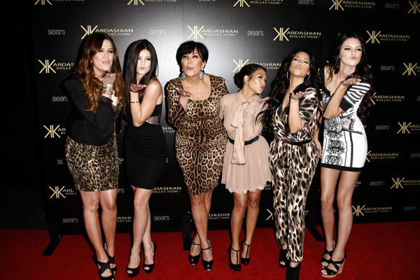 From left, Khloe Kardashian, Kylie Jenner, Kris Jenner, Kourtney Kardashian, Kim Kardashian, Kendall Jenner arrives at the Kardashian Kollection launch party in Los Angeles, Wednesday, Aug. 17, 2011. The Kardashian Kollection designed by the Kardashian si