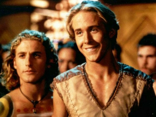 Ryan Gosling appears in a promotional photo from the television series 'Young Hercules.' The series ran from 1998 to 1999. Gosling played the title hero.