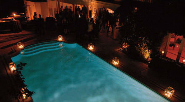 An evening shot of pool at Taylor Swift's...