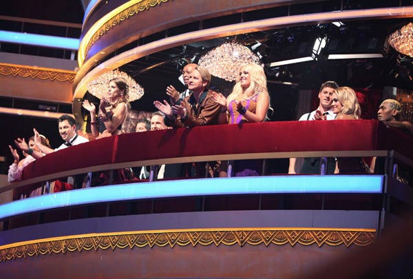 "<div class=""meta ""><span class=""caption-text "">The contestants of season 13 of 'Dancing With The Stars' clap from the balcony during the season premiere on September 19, 2011. (ABC Photo/ Adam Taylor)</span></div>"