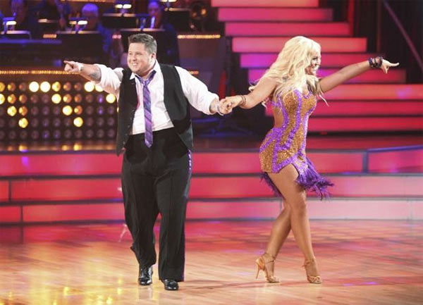 "<div class=""meta image-caption""><div class=""origin-logo origin-image ""><span></span></div><span class=""caption-text"">LGBT activist Chaz Bono and his partner Lacey Schwimmer received 17 out of 30 from the judges for their Cha Cha Cha on the season premiere of 'Dancing With The Stars.' (ABC Photo/ Adam Taylor)</span></div>"