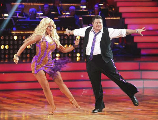 "<div class=""meta ""><span class=""caption-text "">LGBT activist Chaz Bono and his partner Lacey Schwimmer received 17 out of 30 from the judges for their Cha Cha Cha on the season premiere of 'Dancing With The Stars.' (ABC Photo/ Adam Taylor)</span></div>"
