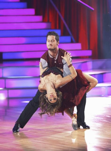 Italian model and actress Elisabetta Canalis and her partner Valentin Chmerkovskiy, brother of Maksim Chmerkovskiy, received 15 out of 30 from the judges for their Cha Cha Cha on the season premiere of 'Dancing With The Stars.'
