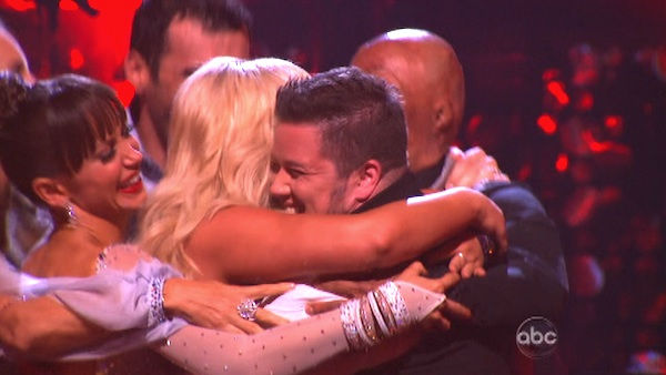 "<div class=""meta ""><span class=""caption-text "">LGBT activist Chaz Bono and his partner Lacey Schwimmer react to being safe on 'Dancing With The Stars: The Results Show' on Tuesday, September 20, 2011. The pair received 17 out of 30 from the judges for their Cha Cha Cha on the season premiere of 'Dancing With The Stars.' (ABC Photo)</span></div>"