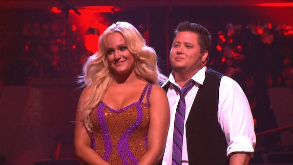 LGBT activist Chaz Bono and his partner Lacey Schwimmer await possible elimination on &#39;Dancing With The Stars: The Results Show&#39; on Tuesday, September 20, 2011. The pair received 17 out of 30 from the judges for their Cha Cha Cha on the season premiere of &#39;Dancing With The Stars.&#39; <span class=meta>(ABC Photo)</span>