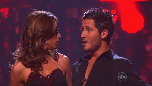 Italian model and actress Elisabetta Canalis and her partner Valentin Chmerkovskiy react to being safe from elimination on 'Dancing With The Stars: The Results Show' on Tuesday, September 20, 2011. The pair received 15 out of 30 from the judges for their