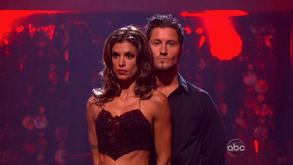 Italian model and actress Elisabetta Canalis and her partner Valentin Chmerkovskiy await possible elimination on 'Dancing With The Stars: The Results Show' on Tuesday, September 20, 2011. The pair received 15 out of 30 from the judges for their Cha Cha Ch