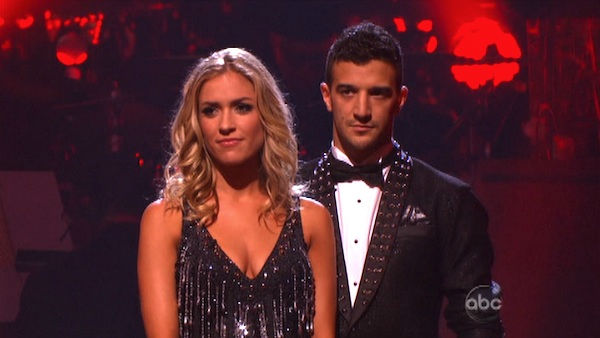 Reality Star Kristin Cavallari and her partner Mark Ballas await possible elimination on &#39;Dancing With The Stars: The Results Show&#39; on Tuesday, September 20, 2011. The pair received 19 out of 300 from the judges for their Cha cha cha on the season premiere of &#39;Dancing With The Stars.&#39;  <span class=meta>(ABC Photo)</span>