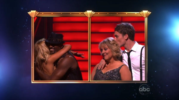 Television host Nancy Grace and her partner Tristan Macmanus react to being safe from elimination on 'Dancing With The Stars: The Results Show' on Tuesday, September 20, 2011. The pair received 16 out of 30 from the judges for their Cha Cha Cha on the sea