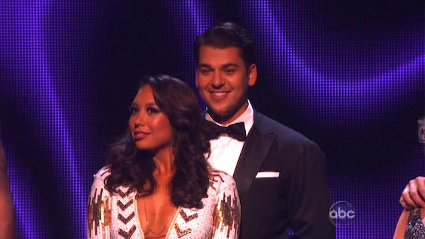 'Keeping Up With The Kardashians' star Rob Kardashian and his partner Cheryl Burke await possible elimination on 'Dancing With The Stars: The Results Show' on Tuesday, September 20, 2011. The pair received 16 out of 30 from the judges for their Viennese W