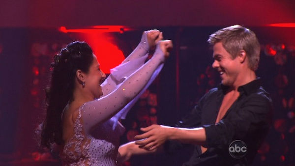 "<div class=""meta image-caption""><div class=""origin-logo origin-image ""><span></span></div><span class=""caption-text"">Talk show host and actress Ricki Lake and her partner Derek Hough react to being safe on 'Dancing With The Stars: The Results Show' on Tuesday, September 20, 2011. The pair received 20 out of 30 from the judges for their Viennese Waltz on the season premiere of 'Dancing With The Stars.' (ABC Photo)</span></div>"