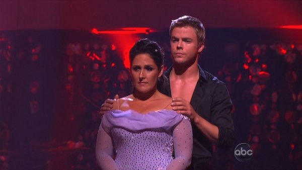 Talk show host and actress Ricki Lake and her partner Derek Hough await possible elimination on 'Dancing With The Stars: The Results Show' on Tuesday, September 20, 2011. The pair received 20 out of 30 from the judges for their Viennese Waltz on the seaso