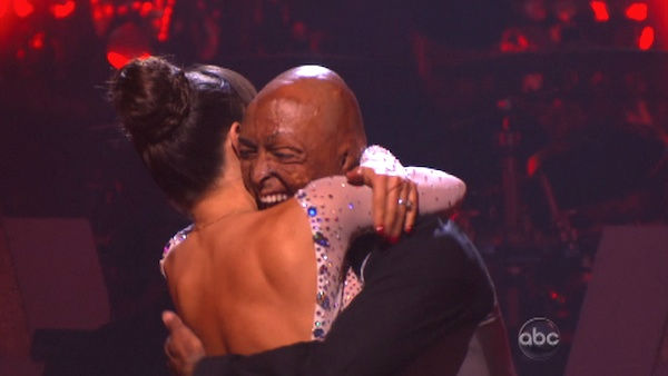 'All My Children' actor and Iraq War veteran J.R. Martinez and his partner Karina Smirnoff react to being safe on 'Dancing With The Stars: The Results Show' on Tuesday, September 20, 2011. The pair received 22 out of 30 from the judges for their Viennese