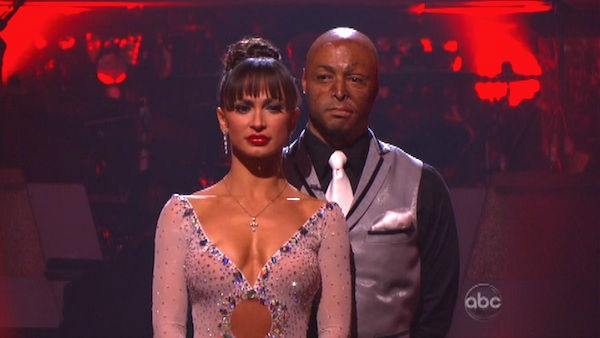 &#39;All My Children&#39; actor and Iraq War veteran J.R. Martinez and his partner Karina Smirnoff await possible elimination on &#39;Dancing With The Stars: The Results Show&#39; on Tuesday, September 20, 2011. The pair received 22 out of 30 from the judges for their Viennese Waltz on the season premiere of &#39;Dancing With The Stars.&#39; <span class=meta>(ABC Photo)</span>