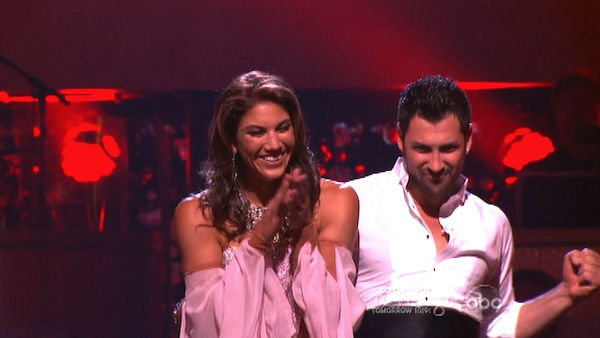 U.S. soccer star Hope Solo and her partner Maksim Chmerkovskiy react to being safe from elimination on 'Dancing With The Stars: The Results Show' on Tuesday, September 20, 2011. The pair received 21 out of 30 from the judges for their Viennese Waltz on th