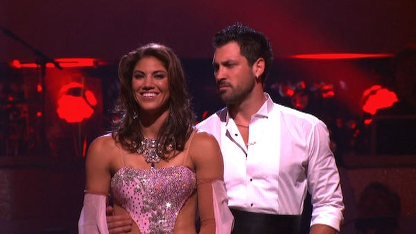U.S. soccer star Hope Solo and her partner Maksim Chmerkovskiy await possible elimination on &#39;Dancing With The Stars: The Results Show&#39; on Tuesday, September 20, 2011. The pair received 21 out of 30 from the judges for their Viennese Waltz on the season premiere of &#39;Dancing With The Stars.&#39; <span class=meta>(ABC Photo)</span>