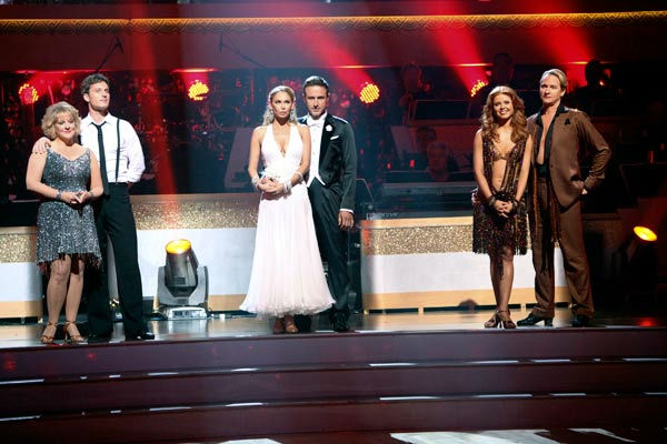 Actor David Arquette and his partner Kym Johnson await possible elimination on 'Dancing With The Stars: The Results Show' on Tuesday, September 20, 2011. The pair received 18 out of 30 from the judges for their