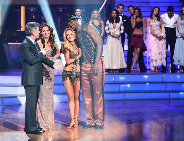 Los Angeles Laker Metta World Peace a.k.a. Ron Artest and his partner Peta Murgatroyd react to being eliminated from ABC&#39;s hit ballroom dancing competition series on Tuesday, September 20, 2011. The pair received 14 out of 30 from the judges for their Cha Cha Cha on the season premiere of &#39;Dancing With The Stars.&#39;  <span class=meta>(ABC Photo&#47; Adam Taylor)</span>