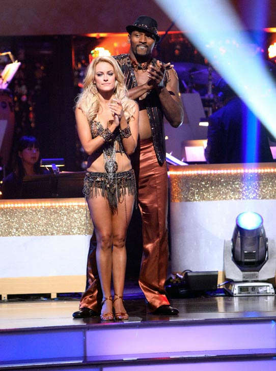 Los Angeles Laker Metta World Peace a.k.a. Ron Artest and his partner Peta Murgatroyd await possible elimination on 'Dancing With The Stars: The Result Show' on Tuesday, Sept