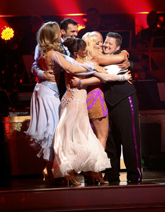 LGBT activist Chaz Bono and his partner Lacey Schwimmer react to being safe on 'Dancing With The Stars: The Results Show' on Tue
