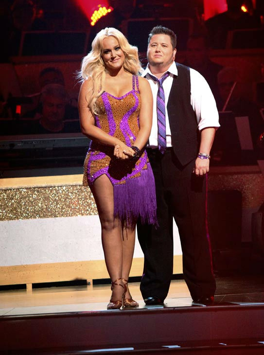 LGBT activist Chaz Bono and his partner Lacey Schwimmer await possible elimination on 'Dancing With The Stars: The Results Show' on Tuesday, September 20, 2011. The pair received 17 out of 30 from the judges for their Cha Cha Cha on the season premiere of