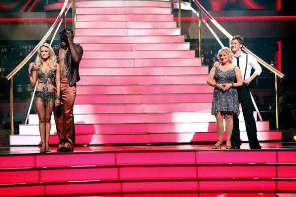 "<div class=""meta ""><span class=""caption-text "">Los Angeles Laker Metta World Peace a.k.a. Ron Artest and his partner Peta Murgatroyd and Nancy Grace and her partner Tristan Macmanus await possible elimination on 'Dancing With The Stars: The Result Show' on Tuesday, September 20, 2011. (ABC Photo/ Adam Taylor)</span></div>"