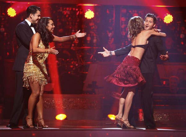 "<div class=""meta ""><span class=""caption-text "">Italian model and actress Elisabetta Canalis and her partner Valentin Chmerkovskiy react to being safe from elimination on 'Dancing With The Stars: The Results Show' on Tuesday, September 20, 2011. The pair received 15 out of 30 from the judges for their Cha Cha Cha on the season premiere of 'Dancing With The Stars.' (ABC Photo/ Adam Taylor)</span></div>"