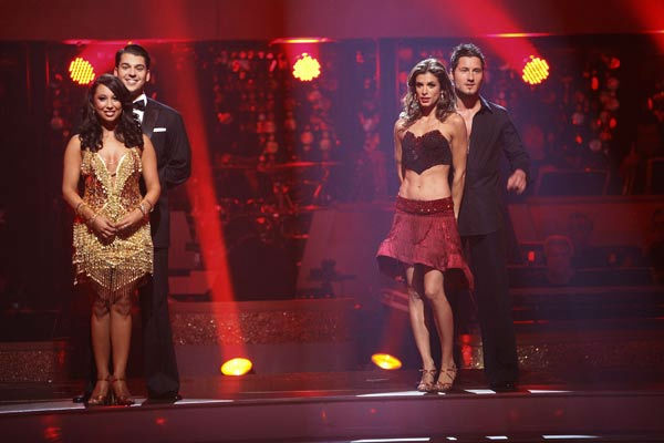 "<div class=""meta ""><span class=""caption-text "">Italian model and actress Elisabetta Canalis and her partner Valentin Chmerkovskiy await possible elimination on 'Dancing With The Stars: The Results Show' on Tuesday, September 20, 2011. The pair received 15 out of 30 from the judges for their Cha Cha Cha on the season premiere of 'Dancing With The Stars.' (Pictured: CHERYL BURKE, ROB KARDASHIAN, ELISABETTA CANALIS and VAL CHMERKOVSKIY.) (ABC Photo/ Adam Taylor)</span></div>"