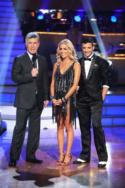 Reality Star Kristin Cavallari and her partner Mark Ballas talk with 'Dancing With The Stars' co-host Tom Bergeron after being safe from elimination on 'Dancing With The Star