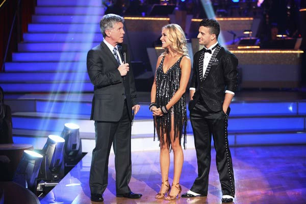 Reality Star Kristin Cavallari and her partner Mark Ballas talk with 'Dancing With The Stars' co-host Tom Bergeron after being safe from elimination on 'Dancing With The Stars: The Results Show' on Tuesday, September 20, 2011. The pair received 19 out of