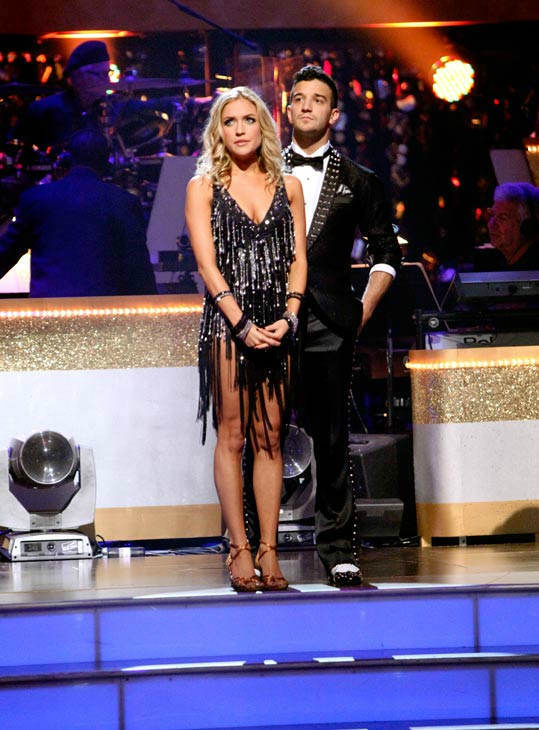 Reality Star Kristin Cavallari and her partner Mark Ballas await possible elimination on 'Dancing With The Stars: The Results Show' on Tuesday, September 20, 2011. The pair received 19 out of 300 from the judges for their Cha cha cha on the season premier