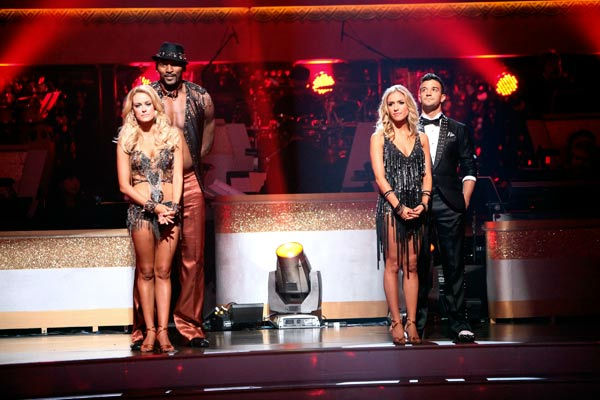 Reality Star Kristin Cavallari and her partner Mark Ballas await possible elimination on &#39;Dancing With The Stars: The Results Show&#39; on Tuesday, September 20, 2011. The pair received 19 out of 300 from the judges for their Cha cha cha on the season premiere of &#39;Dancing With The Stars.&#39;  &#40;Pictured: PETA MURGATROYD, RON ARTEST, KRISTIN CAVALLARI and MARK BALLAS.&#41; <span class=meta>(ABC Photo&#47; Adam Taylor)</span>
