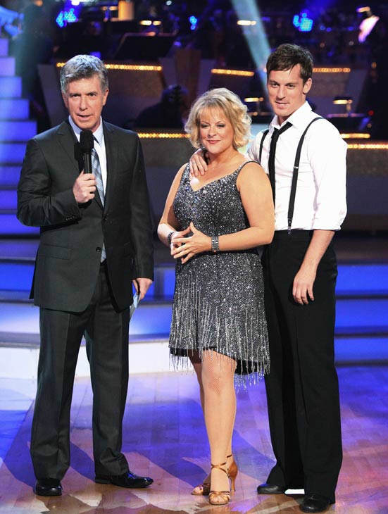 Nancy Grace and her partner Tristan Macmanus talk with 'Dancing With The Stars' co-host Tom Bergeron after being safe from elimination on 'Dancing With The Stars: The Results Show' on Tuesday, September 20, 2011.