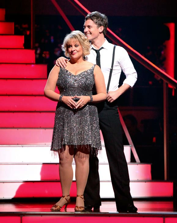 "<div class=""meta ""><span class=""caption-text "">Nancy Grace and her partner Tristan Macmanus await possible elimination on 'Dancing With The Stars: The Result Show' on Tuesday, September 20, 2011. (ABC Photo/ Adam Taylor)</span></div>"