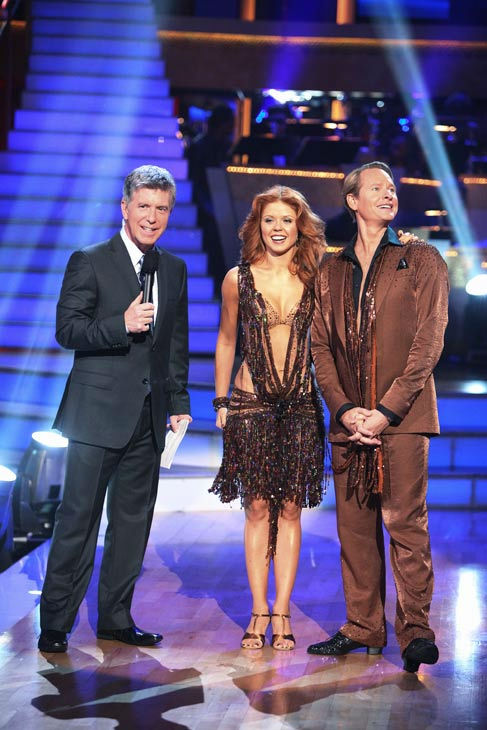 Television personality Carson Kressley and his partner Anna Trebunskaya talk with &#39;Dancing With The Stars&#39; co-host Tom Bergeron after being safe from elimination on &#39;Dancing With The Stars: The Results Show&#39; on Tuesday, September 20, 2011. The pair received 17 out of 30 from the judges for their Cha Cha Cha on the season premiere of &#39;Dancing With The Stars.&#39; <span class=meta>(ABC Photo&#47; Adam Taylor)</span>