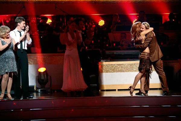 "<div class=""meta ""><span class=""caption-text "">Television personality Carson Kressley and his partner Anna Trebunskaya react to being safe on 'Dancing With The Stars: The Results Show' on Tuesday, September 20, 2011. The pair received 17 out of 30 from the judges for their Cha Cha Cha on the season premiere of 'Dancing With The Stars.' (ABC Photo/ Adam Taylor)</span></div>"