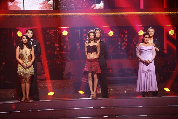 "<div class=""meta ""><span class=""caption-text "">Talk show host and actress Ricki Lake and her partner Derek Hough await possible elimination on 'Dancing With The Stars: The Results Show' on Tuesday, September 20, 2011. The pair received 20 out of 30 from the judges for their Viennese Waltz on the season premiere of 'Dancing With The Stars.' (ABC Photo/ Adam Taylor)</span></div>"