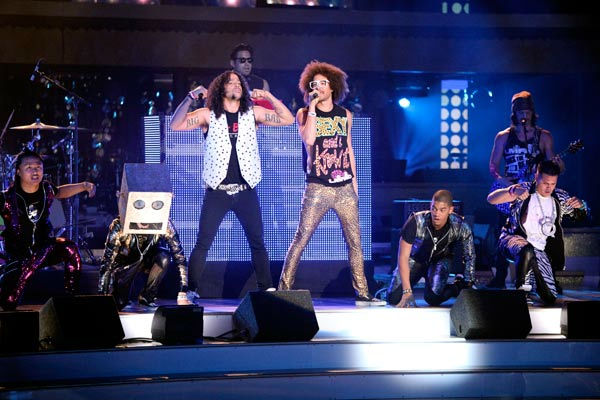 "<div class=""meta ""><span class=""caption-text "">Pop group LMFAO performed their hit single, 'Party Rock Anthem' and their new single 'Sexy and I Know It.'  (ABC Photo/ Adam Taylor)</span></div>"