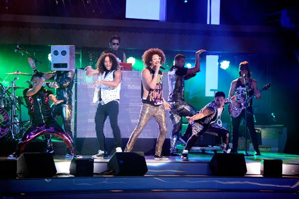 "<div class=""meta image-caption""><div class=""origin-logo origin-image ""><span></span></div><span class=""caption-text"">Pop group LMFAO performed their hit single, 'Party Rock Anthem' and their new single 'Sexy and I Know It.'  (ABC Photo/ Adam Taylor)</span></div>"
