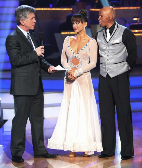 'All My Children' actor and Iraq War veteran J.R. Martinez and his partner Karina Smirnoff talk with 'Dancing With The Stars' co-host Tom Bergeron after being safe from elimination on 'Dancing With The Stars: The
