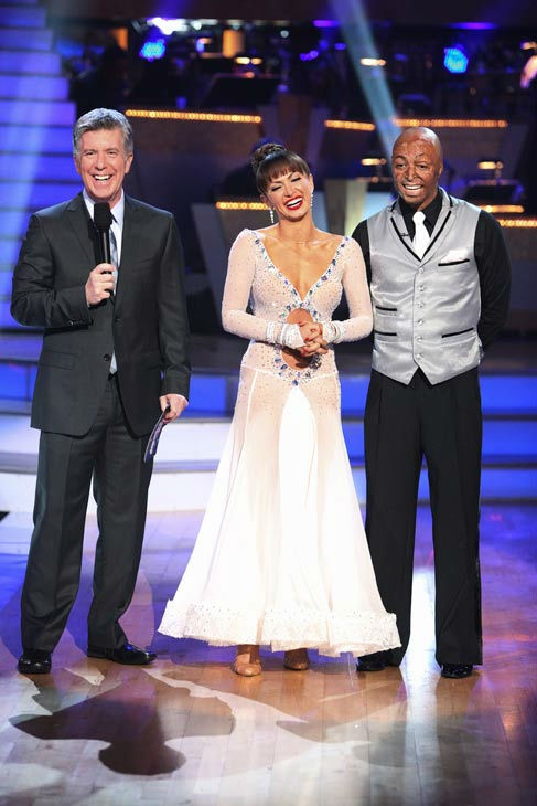 'All My Children' actor and Iraq War veteran J.R. Martinez and his partner Karina Smirnoff talk with 'Dancing With The Stars' co-host Tom Bergeron after being safe from elimination on 'Dancing With The S